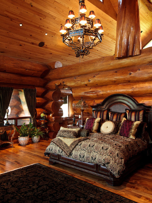 Log Home Bedroom | Houzz