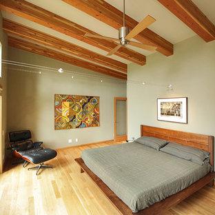 Cette Photo Montre Une Chambre Parentale Tendance De Taille Moyenne Avec Un  Mur Vert, Aucune