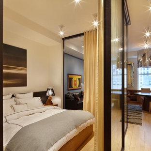 Bedroom - contemporary light wood floor bedroom idea in New York with white walls and no fireplace