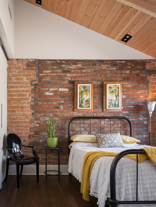 Brick wall bedroom houzz for Bedroom w brick wall