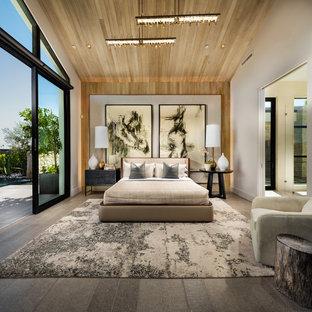 Пример оригинального дизайна: большая хозяйская спальня в современном стиле с белыми стенами, полом из керамогранита и серым полом без камина