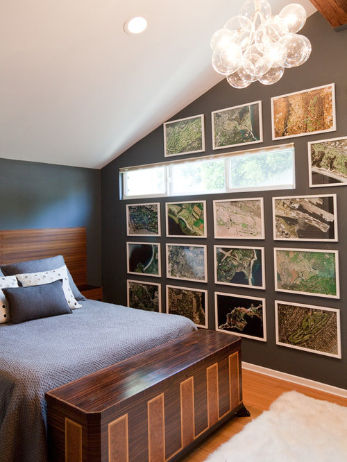 bachelor bedroom ideas. Example of a trendy bedroom design in Los Angeles with brown walls Bachelor Bedroom  Houzz