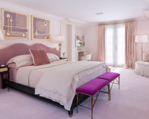 inspiration for a timeless master bedroom remodel in new york with pink walls carpet and - Houzz Bedroom Design