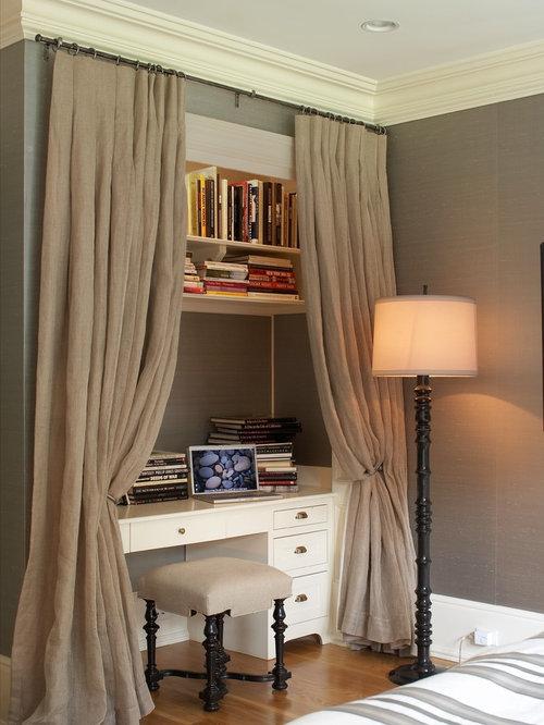 Transitional Medium Tone Wood Floor Bedroom Idea In New York With Gray Walls