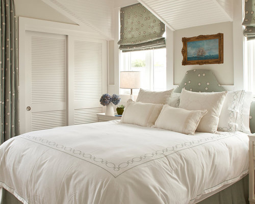 coastal bedroom photo in orange county with gray walls - Louvered Bedroom Decor