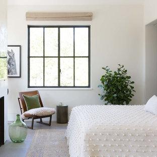 Foto de dormitorio campestre con paredes blancas, chimenea tradicional y suelo gris