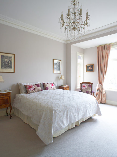 Traditional Carpeted Bedroom Idea In Dublin With Gray Walls