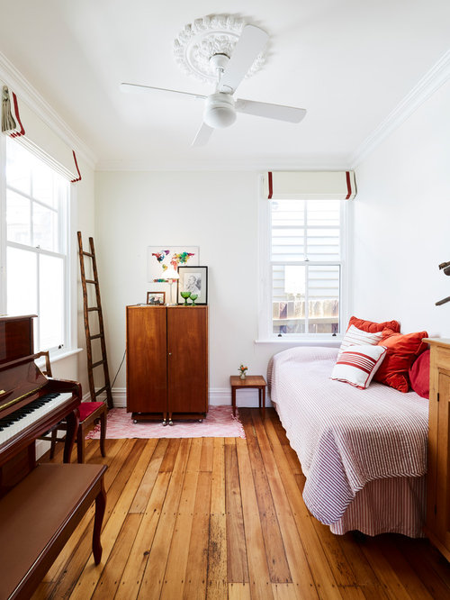 This Is An Example Of A Small Traditional Guest Bedroom In Sydney With  White Walls,
