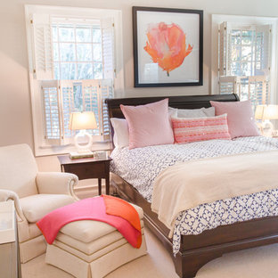Bedroom - traditional master carpeted bedroom idea in DC Metro with beige walls