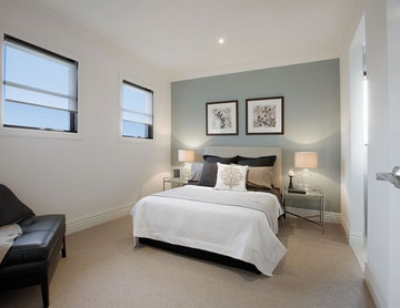 Balwyn North, Guest Bedroom with Duck Egg Blue painted feature wall