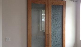 Bamboo door on barn door style hardware