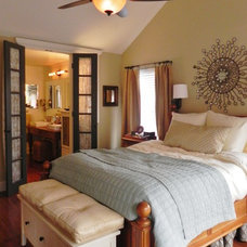 Traditional Bedroom bamboo wood floors; french doors; muted colors; vaulted ceiling