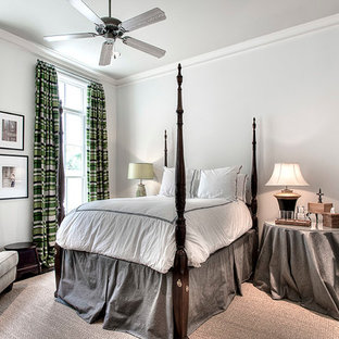 Bedroom - traditional dark wood floor bedroom idea in Houston with gray walls and no fireplace
