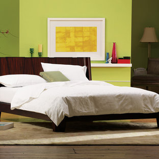 Inspiration for a contemporary master bedroom in New York with green walls and medium hardwood floors.