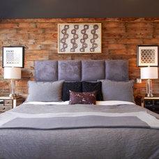 Industrial Bedroom Barn board bedroom feature