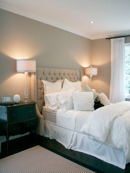 example of a classic bedroom design in toronto with gray walls and
