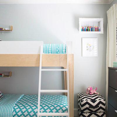 Bedroom - mid-sized contemporary guest bedroom idea in Atlanta with gray walls