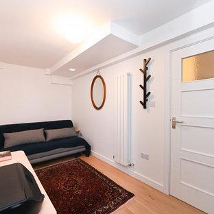 Ejemplo de dormitorio principal, rural, de tamaño medio, sin chimenea, con paredes blancas, suelo de madera clara, marco de chimenea de yeso y suelo marrón