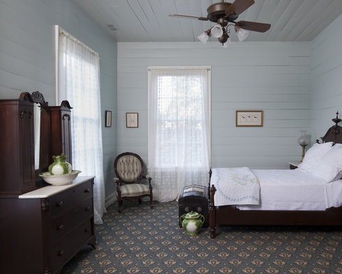 Country carpeted and blue floor bedroom photo in Austin with gray walls. Gustavian Reproduction Furniture   Houzz