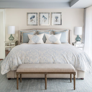 Bedroom - large traditional master carpeted and blue floor bedroom idea in Boston with beige walls and no fireplace