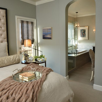 Inspiration for a transitional carpeted and beige floor bedroom remodel in San Francisco with gray walls