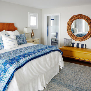 Large beach style master dark wood floor and brown floor bedroom photo in Philadelphia with gray walls and no fireplace