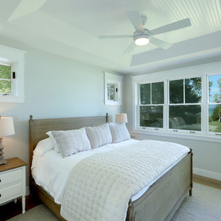 Small country master bedroom in Other with grey walls, light hardwood floors and brown floor.