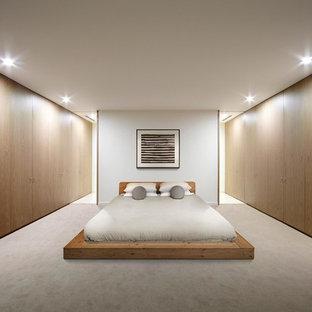 Ispirazione per una camera da letto scandinava con moquette e pareti bianche