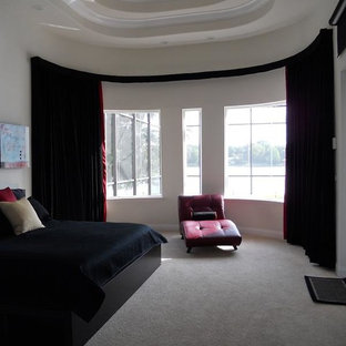Example of a large minimalist master carpeted bedroom design in Indianapolis with white walls and no fireplace