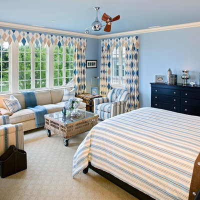 Elegant carpeted bedroom photo in DC Metro with blue walls