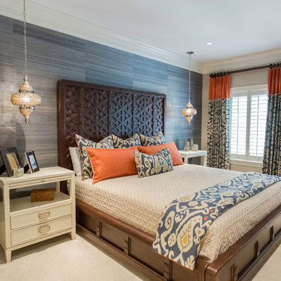 Bedroom - mid-sized transitional master carpeted and beige floor bedroom idea in Miami with blue walls and no fireplace