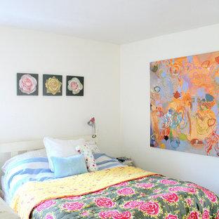 Bedroom - eclectic bedroom idea in Burlington with white walls