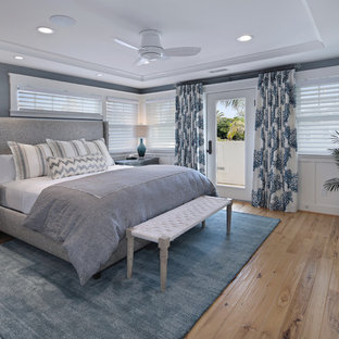 Example of a mid-sized coastal master light wood floor bedroom design in San Diego with blue walls, a standard fireplace and a tile fireplace