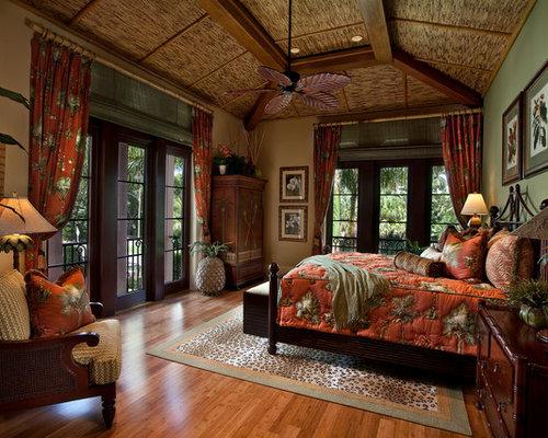 Bedroom   Tropical Bedroom Idea In Miami With Green Walls