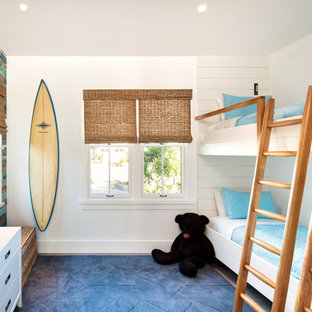 Bedroom - mid-sized coastal guest ceramic tile and gray floor bedroom idea in Hawaii with white walls