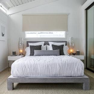 Imagen de habitación de invitados costera, pequeña, sin chimenea, con paredes blancas y suelo de madera clara
