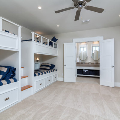 Bedroom - large coastal guest carpeted bedroom idea in Birmingham with beige walls and no fireplace