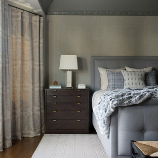 Photo of a mid-sized transitional master bedroom in San Francisco with grey walls, dark hardwood floors and brown floor.