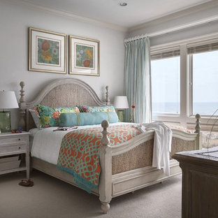 Photo of a large coastal master bedroom in Other with carpet and no fireplace.