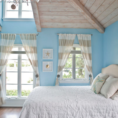 Large beach style guest bedroom photo in San Diego with blue walls