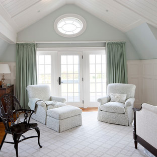 Inspiration for a beach style bedroom remodel in Boston with blue walls