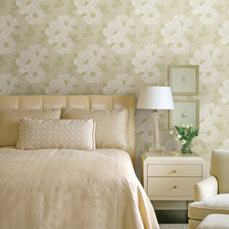 Beacon House Home - This enchanted bedroom has a beautiful calming energy with a soft and neutral palette that is clean and inviting. A contemporary floral pattern enlivens walls in a picturesque garden scene!