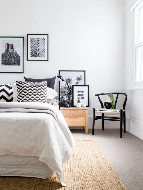 Inspiration For A Mid Sized Scandinavian Carpeted And Beige Floor Bedroom  Remodel In Sydney With