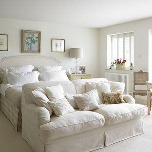 Bedroom Large Farmhouse Master Carpeted Idea In Wiltshire With White Walls