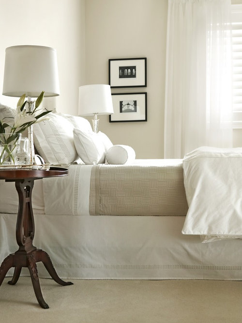 elegant carpeted bedroom photo in toronto with beige walls - Bedroom Decor With Beige Walls