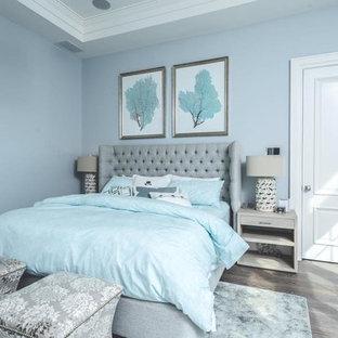 ニューヨークの広いトランジショナルスタイルのおしゃれな主寝室 (青い壁、無垢フローリング、暖炉なし、茶色い床)