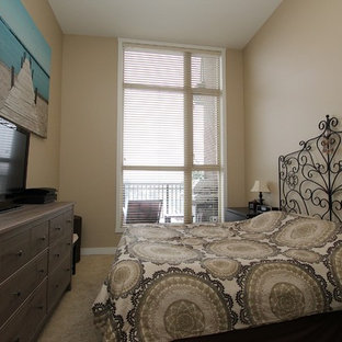Inspiration for a modern master carpeted bedroom remodel in Vancouver
