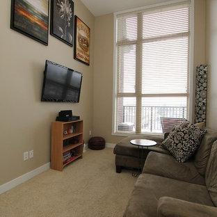 Bedroom - modern carpeted bedroom idea in Vancouver