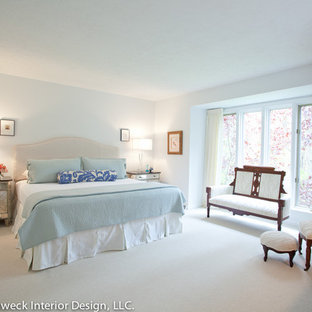 Inspiration For A Large Timeless Master Carpeted Bedroom Remodel In Other With Blue Walls
