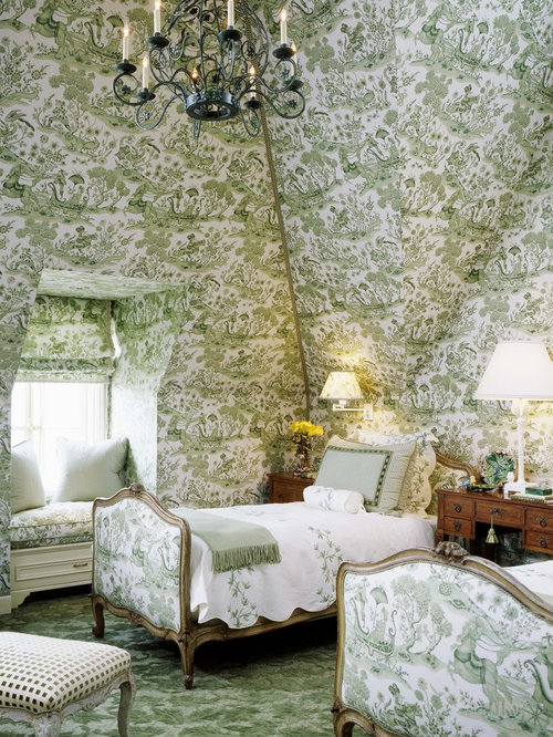 Victorian Guest Carpeted And Green Floor Bedroom Idea In San Francisco With  Multicolored Walls